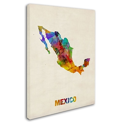 "Trademark Michael Tompsett ""Mexico Watercolor Map"" Gallery-Wrapped Canvas Art, 35"" x 47"""