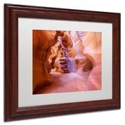 "Trademark Pierre Leclerc White Matte W/Wood Frame ""Upper Antelope Canyon"" Arts"