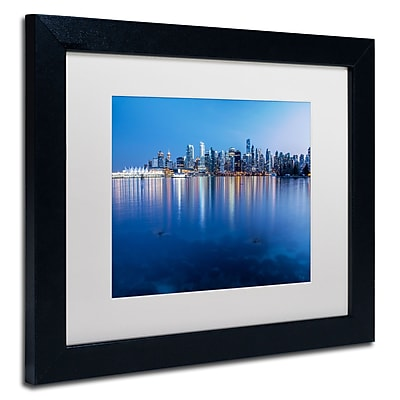 "Trademark Pierre Leclerc ""Vanvouver City Reflection"" Art, White Matte W/Black Frame, 11"" x 14"""