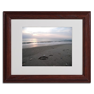 """Trademark Monica Fleet """"Marks Left"""" Art, White Matte W/Wood Frame, 11"""" x 14"""""""