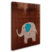 "Trademark Nicole Dietz ""Elephant on Wood"" Gallery-Wrapped Canvas Art, 14"" x 19"""
