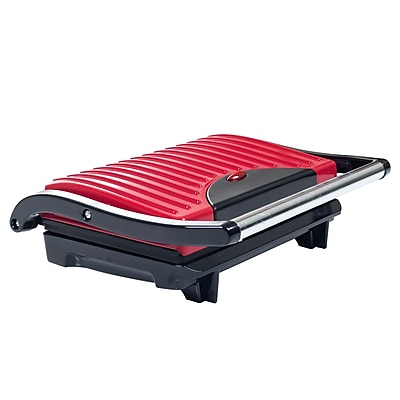 Chef Buddy 760 W Non-Stick Grill and Panini Press, Red