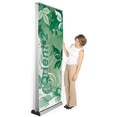 Exhibitor's Hand Book Multiple Size Double Sided Orient 2 Banner Stand; 31.5''