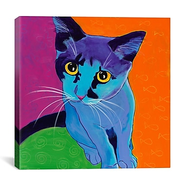 iCanvas DawgArt Kitten Blue Painting Print on Wrapped Canvas; 26'' H x 26'' W x 0.75'' D