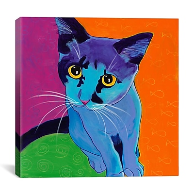 iCanvas DawgArt Kitten Blue Painting Print on Wrapped Canvas; 18'' H x 18'' W x 0.75'' D