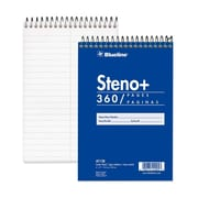 "Blueline White Paper Wirebound Steno Pad, 360 pages, 6"" x 9"""