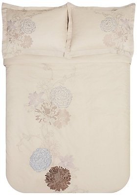 Simple Luxury Fieldstone 3 Piece Embroidered Reversible Duvet Set; Full/Queen