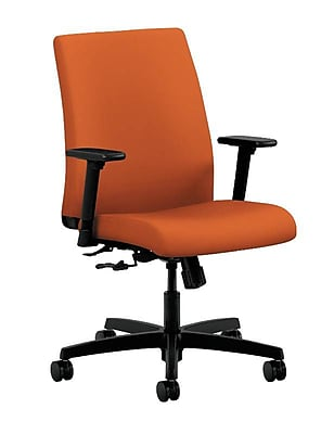 HON Ignition Fabric Computer and Desk Office Chair, Adjustable Arms, Tangerine (HONIT105CU46)