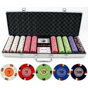 JP Commerce 500 Piece Lucky Horseshoe Clay Poker Chips Set
