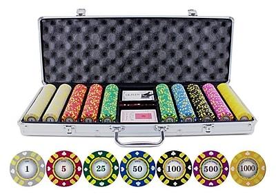 JP Commerce 500 Piece Stripe Suited V2 Clay Poker Chips Set