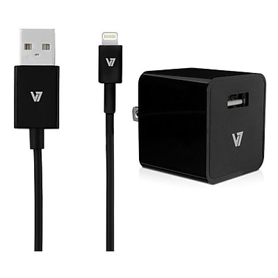 V7® 12 W USB Wall Charger With 3.3' Lightning Cable For iPad/Air, Black