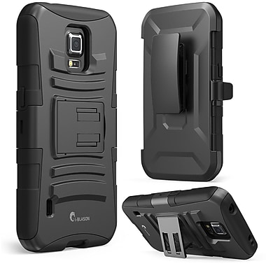 i-Blason Prime Series Dual Layer Holster Case With Kick Stand For Samsung Galaxy S5 Active, Black