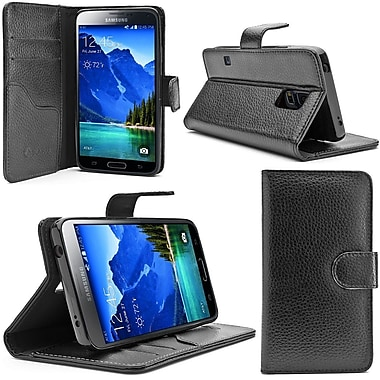 i-Blason Leather Book Folio Wallet Case For Samsung Galaxy S5 Active, Black