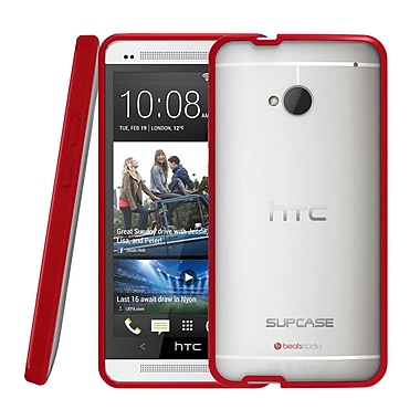 SUPCase Premium Hybrid Protective Case For HTC One M7 Smartphone, Clear/Red