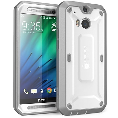 SUPCase Unicorn Beetle PRO Series Full body Hybrid Protective Case For HTC One M8, White/Gray