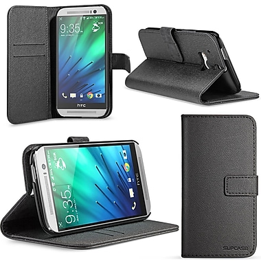 SUPCase Premium Wallet Leather Case For HTC One M8, Black