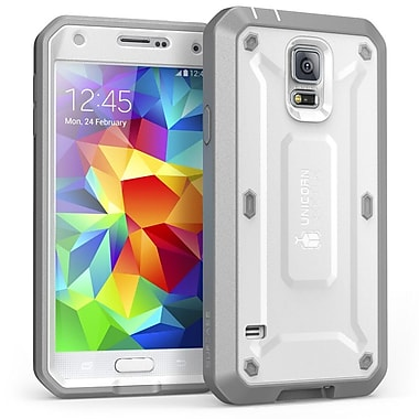 SUPCase Unicorn Beetle PRO Series Full body Hybrid Protective Case For Samsung Galaxy S5, White/Gray