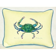 Betsy Drake Interiors Coastal Female Crab Indoor/Outdoor Throw Pillow