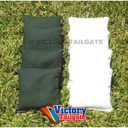Victory Tailgate Weather Resistant Cornhole Bags (Set of 4); White and Hunter Green