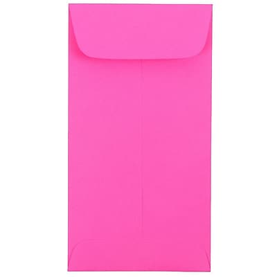 JAM Paper® #7 Coin Envelopes, 6.5 x 3.5, Brite Hue Ultra Fuchsia Pink, 25/pack (1526767)
