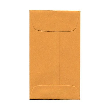 JAM Paper® #3 Coin Envelopes, 2.5 x 4.25, Brown Kraft, 1000/Pack (01623989B)