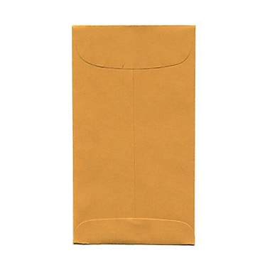 JAM Paper® #6 Coin Envelopes, 3.38 x 6, Brown Kraft, 1000/Pack (01623992B)