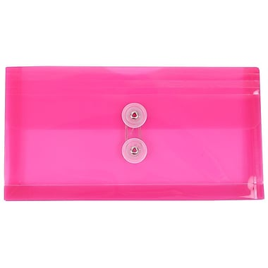 JAM Paper® #10 Plastic Envelopes with Button and String Tie Closure, 5 1/4 x 10, Fuchsia Pink Poly, 12/pack (921B1FU)