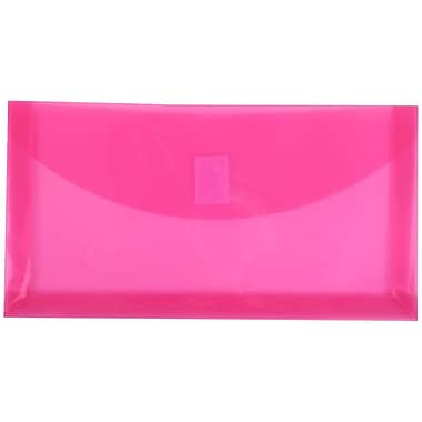 JAM Paper® #10 Plastic Envelopes with VELCRO® Brand Closure, 1 Expansion, 5 1/4 x 10, Fuchsia Pink Poly, 12/pack (921V1FU)