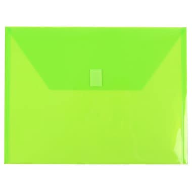 JAM Paper® Plastic Envelopes with VELCRO® Brand Closure, Letter Booklet, 9.75 x 13, Lime Green Poly, 12/pack (218V0LI)