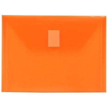JAM Paper® Plastic Envelopes with VELCRO® Brand Closure, Index Booklet, 5.5 x 7.5, Orange Poly, 12/Pack (920V0OR)