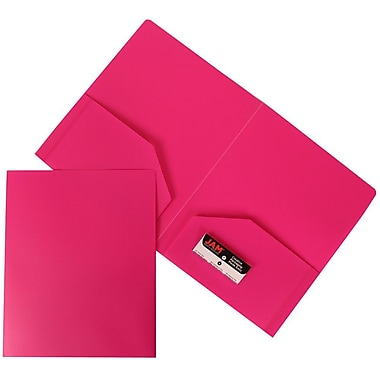 JAM Paper® Plastic Heavy Duty Two Pocket Folders, Fuchsia Pink, 6/pack (383HFUA)