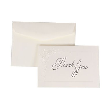 JAM Paper® Thank You Cards Set, Embossed Roses with White Envelope, 104 Note Cards with 100 Envelopes (52636201)