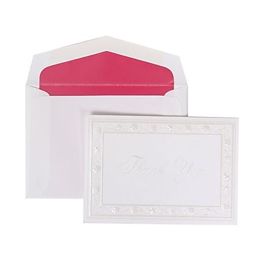 JAM Paper® Thank You Cards Set, Pearl Seashells with Pink Lined Envelope, 104 Note Cards with 100 Envelopes (52690352PI)