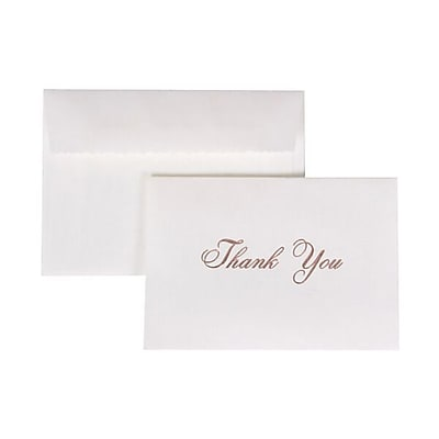 JAM Paper® Thank You Cards Set, Pink Script with White Envelope, 104 Note Cards with 100 Envelopes (52619303)