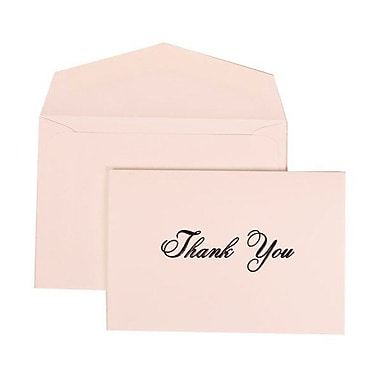JAM Paper® Thank You Cards Set, Bright White Black Script, 104 Note Cards with 100 Envelopes (312025220)