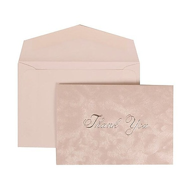 JAM Paper® Thank You Cards Set, Silver Brushstrokes with Silver Print, 104 Note Cards with 100 Envelopes (312025221)