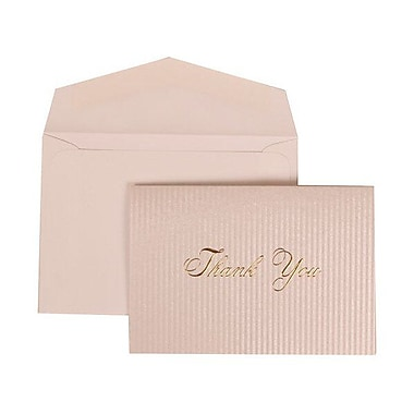 JAM Paper® Thank You Cards Set, Silver Pinstripes with Gold Print, 104 Note Cards with 100 Envelopes (312025222)