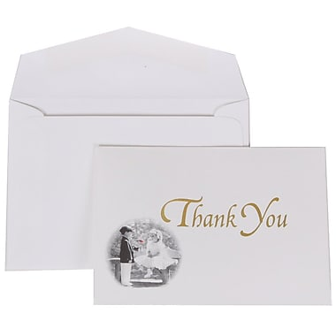 JAM Paper Gold Design Thank You Cards with White Envelope