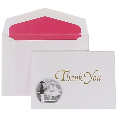 JAM Paper® Thank You Cards Set, Gold Design with Pink Lined Envelope, 104 Note Cards with 100 Envelopes (52660502PI)