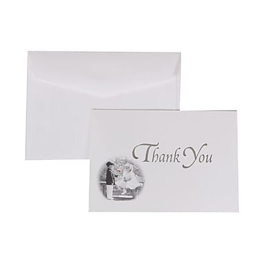 JAM Paper® Thank You Cards Set, Silver Design with White Envelope, 104 Note Cards with 100 Envelopes (52660501)
