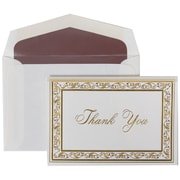 JAM Paper® Thank You Cards Set, Gold Acanthus with Mauve Lined Envelope, 104 Note Cards with 100 Envelopes (52691512MA)