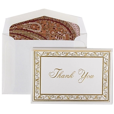 JAM Paper® Thank You Cards Set, Gold Acanthus with Pink Paisley Lined Envelope, 104 Note Cards with 100 Envelopes (52691512PP)