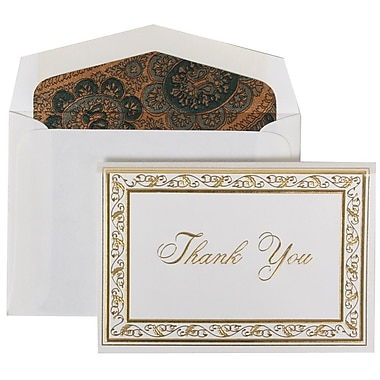 JAM Paper® Thank You Cards Set, Gold Acanthus, Burgundy Paisley Lined Envelope, 104 Note Cards with 100 Envelopes (52691512BG)