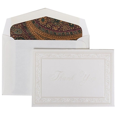 JAM Paper® Thank You Cards Set, Pearl Acanthus, Burgundy Paisley Lined Envelope, 104 Note Cards with 100 Envelopes (52691522BG)