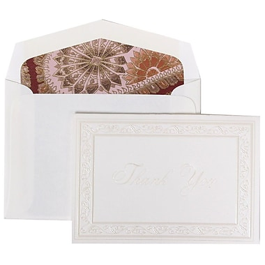 JAM Paper® Thank You Cards Set, Pearl Acanthus with Pink Paisley Lined Envelope, 104 Note Cards with 100 Envelopes (52691522PP)