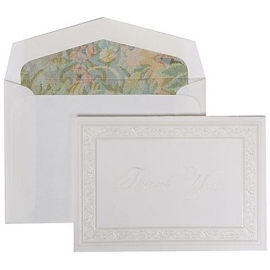 JAM Paper® Thank You Cards Set, Pearl Acanthus with Tapestry Lined Envelope, 104 Note Cards with 100 Envelopes (52691522TA)