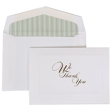 JAM Paper® Thank You Cards Set, We Thank You with Green Striped Lined Envelope, 104 Note Cards with 100 Envelopes (52698002GS)