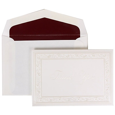JAM Paper® Thank You Cards Set, Pearl Lily with Burgundy Lined Envelope, 104 Note Cards with 100 Envelopes (52691922BU)