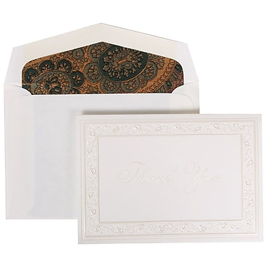 JAM Paper® Thank You Cards Set, Pearl Lily with Burgundy Paisley Lined Envelope, 104 Note Cards with 100 Envelopes (52691922BG)