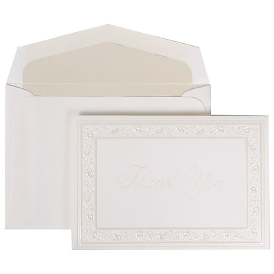 JAM Paper® Thank You Cards Set, Pearl Lily with Crystal Lined Envelope, 104 Note Cards with 100 Envelopes (52691922CR)